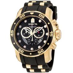 Invicta Men's 6981 Pro Diver Collection Chronograph Black and Gold Watch #Invicta