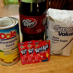 Kristen's Dr. Pepper Punch I always have people ask me this recipe, so here it is! 1)Pour a 2 liter Dr. Pepper, wait for the fizz to go away then 2) Add 1 1/2 C sugar. It will fizz up again, let it go back down again. 3) Add 1 1/2 C pineapple juice then 4) 3 packets of cherry Koolaid (use Koolaid, not anything generic!) 5) Stir, chill and serve :)