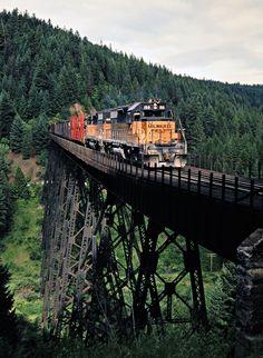 MILW, Peedee, Idaho, 1979 Eastbound Milwaukee Road freight train train crossing bridge in Peedee, Idaho, on July 12, 1979. Photograph by John F. Bjorklund, © 2016, Center for Railroad Photography and Art. Bjorklund-68-03-05
