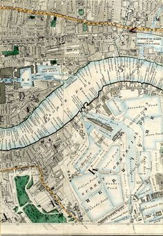 Old Maps Of London, London Map, London Places, Old London, East London, Antique Maps, Vintage Maps, Political Geography, London Docklands