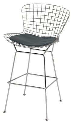 Net Woven Wire Counter Stool with Upholstered Cushion and Steel Frame