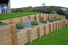 Timber retaining wall Kapiti Coast stone wall decking Lower Hutt