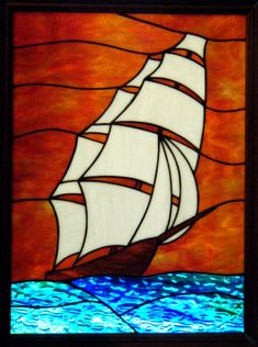 Clipper at Sunset Stained Glass Window Stained Glass Patterns Free, Stained Glass Designs, Stained Glass Projects, Stained Glass Flowers, Stained Glass Panels, Stained Glass Art, Mosaic Art, Mosaic Glass, Glass Boat