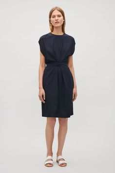 COS image 1 of Silk dress with wrap tie in Navy