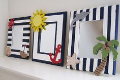 nautical picture frame   ... megan had a great idea to paint frames my cousins karen and jill are