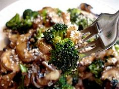 Marinated broccoli and mushrooms. Raw on $10 a Day (or Less!)