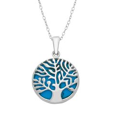 """Sterling Silver Simulated Turquoise Reversible Tree of Life Pendant Necklace, Women's, Size: 18"""", Blue"""