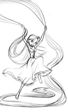 Glen Keane. Rapunzel having fun with her hair.