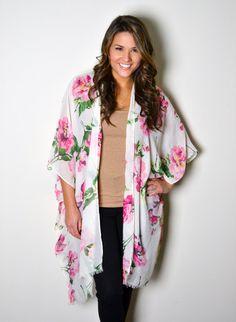 Garden Roses Boho Kimono, Boho Poncho, Cover Up, Floral Kimono,Tunic, plus size, Fringe Kimono, Bohemian Kimono