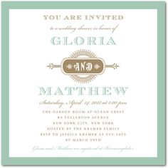 Vintage CoupleLapis Signature White Textured Bridal Shower Invitations Designed by: Jenny Romanski for Wedding Paper Divas