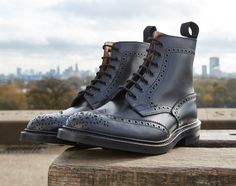 Stow Country Boot - Tricker's handmade heavy brogue 7-eyelet Derby ankle boot…