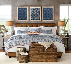 Lorraine Tufted Leather Bed & Headboard | Pottery Barn