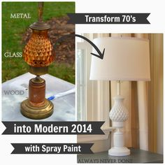 How to Spray Paint Old ( Glass, Wood, & Metal ) Lamps  from from Gardners 2 Bergers: Always Never Done: