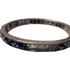 vintage ART DECO Sterling Channel Set crystal rhinestone hinged Bangle