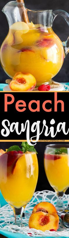 Peach Sangria Sweet sangria made with fresh peaches Perfect and refreshing for summer Fruity Sangria Recipe, Sangria Drink, Cocktail Drinks, Cocktail Recipes, Alcoholic Drinks, Beverages, Peach Sangria Recipes, Vodka Cocktails, Easy Cocktails