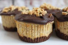 Mini Chocolate Peanut Butter Cheesecakes