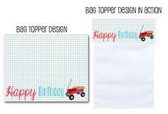 printable party decor, favor bag toppers, bag toppers, red wagon party, wagon party decor, party favor ideas