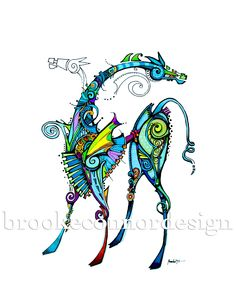 Coloful Tangle/doodle....Animation Horse Print by BrookeConnorDesign on Etsy. $20.00, via Etsy.