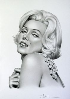 Marilyn Monroe Bleistift Zeichnung Hampel auszudrucken klassische Hollywood Glamour Vintage handsigniert vom Künstler