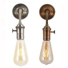 Vintage Edison Bulb Holder Barn Light - Wall Sconce - Brass or Pewter Lounge Lighting, Hall Lighting, Retro Lighting, Wall Sconce Lighting, Edison Lighting, Copper Lighting, Industrial Wall Lights, Vintage Industrial Lighting, Edison Lampe