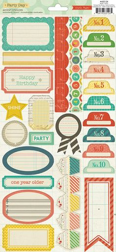 American Crafts - Crate Paper - Party Day Collection - Cardstock Stickers - Labels and Borders at Scrapbook.com $2.99