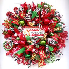 Spiritual Wreath, Christmas Wreath, Deco Mesh Wreath, Bright Colors, Wall Wreath, Holiday Wreath, Door Wreath, Jesus Wreath, Gift Wreath, Red, Lime Green, Green, hmhteam Made on a form base, this is full of bright Christmas colors. In the center is a handmade metal sign that says