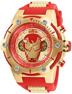Invicta Men's Marvel Stainless Steel Quartz Watch with Silicone Strap, red, 30 (Model: Mens Watches For Sale, Luxury Watches For Men, Cool Watches, Wrist Watches, Black Stainless Steel, Stainless Steel Watch, Stainless Steel Bracelet, Quartz Watch, Watch Bands