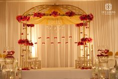 Indian Wedding Decor Company, Occasions by Shangri-La, provides indian wedding mandaps with full service event decor & floral for South Asian weddings. Marriage Decoration, Wedding Stage Decorations, Wedding Themes, Engagement Decorations, Decor Wedding, Wedding Table, Wedding Cakes, Red Wedding Flowers, Spring Wedding Colors