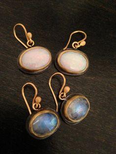 Oxidized gumdrop earrings in 22K gold, opal and moonstone