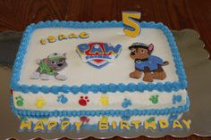 Children's Birthday Cakes - Paw Patrol Cake with Chase and Rocky.