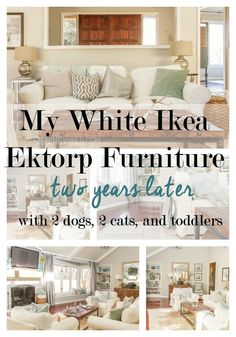 review of Ikea Ektorp Furniture in white after two years. Ikea Ektorp couch and chairs after two years with kids and pets. Blekinge White, Vittaryd white