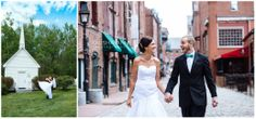 Wedding Photography | Downtown Portland Maine | Kings Hill Inn | South Paris, ME | Bride & Groom walking | Groom carrying Bride next to white chapel | Spring Wedding Ideas | Green | City | Photo by Tausha Ann Photography