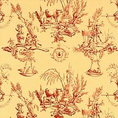 Thibaut Toile Portfolio - Toile de Provence - Wallpaper - Red on Yellow
