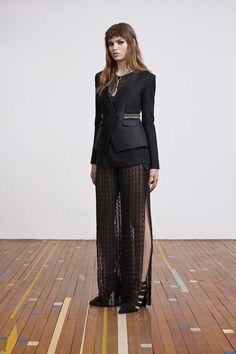 Avant Gard Black Hot Pant Suit and a Sheer Black Long Dress Bottom Sass & Bide Pre-Fall 2016 Collection Photos - Vogue