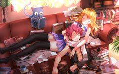 Lucy Heartfilia, Natsu Dragneel, and Happy (Nalu) from Fairy Tail