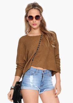 brown crop sweater