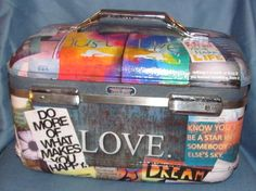 Love, Just Live positive affirmations uplifting quotes Upcycled Train Case vintage fun make up bag by Rhonda Gelstein of Funky Stuff  SOLD  Gifts www.facebook.com/funkystuffgifts