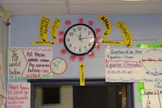 Love this, especially for or grade! Love the idea of turning the clock area into a teaching background. Could use this idea to teach military time for higher learners. 3rd Grade Classroom, Classroom Walls, Math Classroom, Classroom Ideas, Classroom Clock, Second Grade Math, 4th Grade Math, Grade 2, Teaching Time