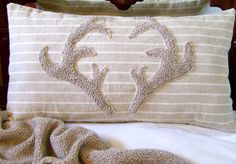 antler pillow deer cushion with woodland cabin or lodge decor ($28.00) - Svpply