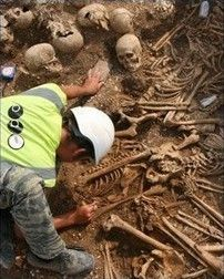 Mass Grave of the Headless Vikings: Archaeologists were digging up side of a roadway in Dorset when they unearthed a mass grave containing headless remains of 54 Viking mercenaries. Read more: http://www.cracked.com/article_19837_the-7-most-terrifying-archaeological-discoveries.html#ixzz2bPwwhZr9