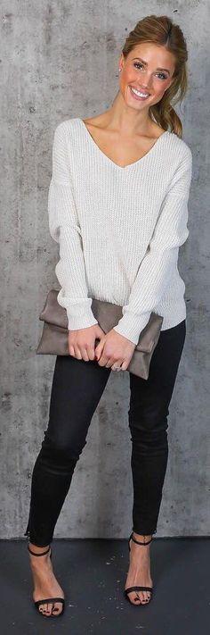 #winter #fashion / White Open Back Knit / Black Jeans / Black Pumps