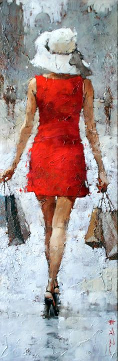 Impressionist artwork by Andre Kohn and other internationally recognized artists. Figurative oil paintings, drawings, sculpture and oversized paintings. Woman Painting, Painting & Drawing, Pinturas Em Tom Pastel, Beautiful Paintings, Female Art, Lady In Red, Amazing Art, Art Drawings, Art Photography