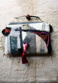Poseidon's Garden--a Quilted Appliqued Pouch with Zipper Closure, African Wax Cotton Lining and Artisan Bead