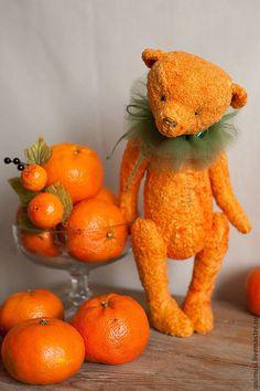Клим Мандаринов - рыжий,оранжевый цвет,мандарин,новый год,тедди,авторская работа