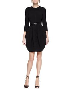 Long-Sleeve+Bubble-Skirt+Dress+by+Oscar+de+la+Renta+at+Neiman+Marcus.