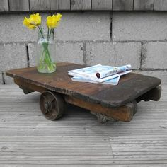 Antique Old Original Wooden Cast Iron Cart Trolley Truck Vintage Coffee Table