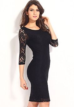 Cfanny Women s Vintage Lace Overlay 3 4 Sleeves Midi Pencil Dress X-Large  Black at Amazon Women s Clothing store  739063ab2cc7