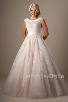 Modest Wedding Dresses : Rosenthal Beautiful, would probably remove the under skirt after pictures, so I could boogey