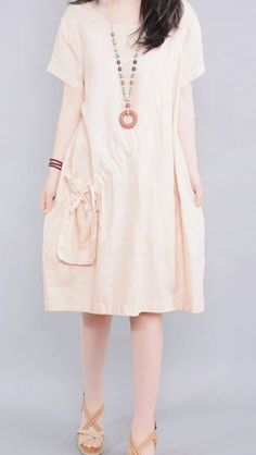 Women loose fit over plus size flax linen dress beige pocket skirt casual chic #Unbranded #dress #Casual
