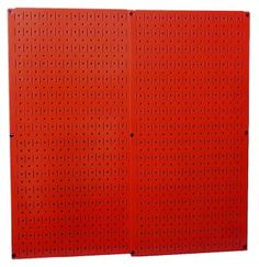 SLOTS AND HOLES IN RED!!!   Amazon.com: Wall Control 30-P-3232R Red Metal Pegboard Pack: Home Improvement